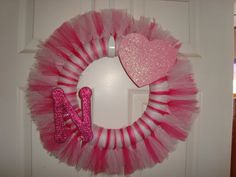Pink Girly tutu wreath, pick heart or crown for your little princess, great door or wall decor for her room!