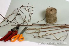 """Ashbee Design: Twig Heart Tutorial 2. Supplies needed for EACH heart {continued}: 6 green twig branches. Assortment of curly vines - mine were """"Bittersweet"""" Several sprigs of red berries Twine Hot Glue Clippers Scissors"""