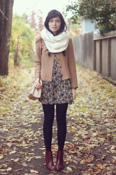 fall fashion: big scarf, jacket, mini dress, and leggings