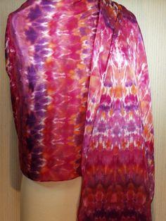 Women's Hand Dyed Silk Shibori Wrap, Evening Wear, Extra Long Wrap, Purple, Red, Orange