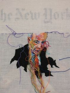 Embroidered newspapers - arts meets news, becomes news.
