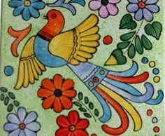 """Vintage Mexican Folk Art Tile Trivet BIRD FLOWERS Signed 6.75"""""""