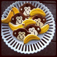 Baby shower monkey and banana cookies