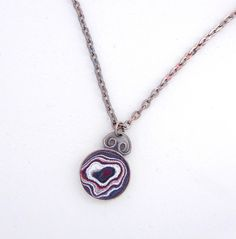 Fordite Necklace. Fordite Pendant Jewelry.  Motor City Agate.  Sterling Silver Chain. Made in Detroit. by DetroitRocksJewelry on Etsy