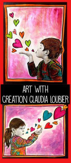 Kinderen artistiek schilderij laten maken (met 1 of 2 kleuren), foto uitknippen en erop plakken, hartjes er zelf op schilderen/op plakken