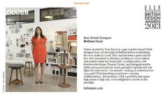 Bethan Gray wins Best British Designer at the Elle Decoration British Design Awards. In the past year Bethan has collaborated with stone specialists Lapicida to create marble tables and table top pieces http://lapicida.com - http://thebritishdesignawards.com/2013/2013winners-01-bethangray.html