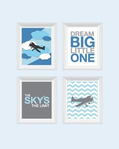 Baby Boy Nursery Art Chevron Airplane Nursery, Baby Nursery Decor, Playroom Rules Quote Art, Kids Wall Art Baby, Dream On