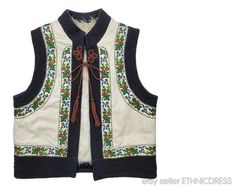 Discounts available when buying 3 or more items in one shopping trip - please e-mail for a coupon code. Note that international shipping will be less that the posted amount when buying multiple items. Foreign buyers are encouraged to send an e-mail for an exact quote.ITEM DESCRIPTION:Charming unisex folk costume vest from the Bukovina region of Ukraine/Romania. Such vests were worn on both sides of the border by both men and women. Features hand embroidered and heavy black trim along the…