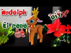 Rudolph The red-nosed reindeer In foamy or Goam eva Rudolph The Red, Red Nosed Reindeer, Christmas Ornaments, Holiday Decor, Diy, Color, Youtube, Feltro, World