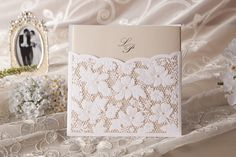Elegant Pearl Floral Laser Cut Wedding Invitation Cards With Envelopes and Seals Invitation Floral, Lace Wedding Invitations, Laser Cut Wedding Invitations, Wedding Stationary, Wedding Cards, Wedding Favors, Our Wedding, Pocket Invitation, Invites