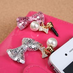 Twinkle Bow with Pearl Dust Plug Cellphone Charms iPhone Accessories Pink Silver