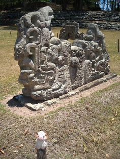 With the Two headed flying snake sculpture - Youssouf at the Copán Maya site - Maya site Copán, Honduras - 11 April 2007 Maya Architecture, Architecture Tattoo, Alien Artifacts, Historical Artifacts, Tikal, Ancient Aliens, Ancient Art, Colombian Art, Maya Civilization
