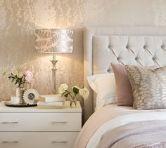 2 to 5 Bed New Build Homes For Sale In Cumbria The Theon Gilt lamps continue the theme and the light reflects beautifully off the gold leafing of the Blush wallpaper from the Eglomise collection by Harlequin. Gold Bedroom Decor, Room Ideas Bedroom, Living Room Designs, Living Room Decor, Luxurious Bedrooms, My New Room, Blush Wallpaper, Gold Wallpaper In Bedroom, Cream And Gold Wallpaper