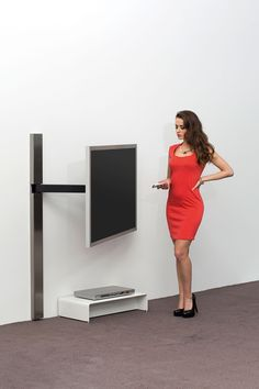 """TV Wall Mount / Wandhalterung Full swivel range for best angle of view (depending on the width of TV set) concealed cable management. Same functionality as our art123 but the vertical column in angular design. Dimensions (h x w x d): size 0: For TV screens from 30"""" to 39"""" (up to 20 kg): 32 or 42 cm swivel arm; max. wall clearance 33 or 43 cm; height 118 cm center of TV screen approx. 90 cm from the floor size 1: For TV screens from 40"""" to 55"""" (up to 35 kg): 55 cm swivel arm; max"""