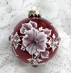 Red Metallic Hand Painted 3D White MUD Textured Floral Design Ornament with Bling 156