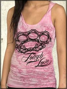 Rock Rebel Clothing - Rebel Spirit Tough Love Brass Knuckles Flowers Crown Filigree Women's Racerback Tank Top Hoodie Shirt in Pink Ash Wash