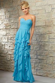 Strapless sweetheart chiffon dress with ruffled flounces. Zipper back.  the bridesmaid dress by mori lee 718
