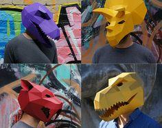 Prehistoric Monster Mask Set by Wintercroft on Etsy Animal Face Mask, Fox Mask, Skull Mask, Animal Masks, Face Masks, Game Of Thrones Mask, Low Poly Mask, Dinosaur Mask, Monster Mask