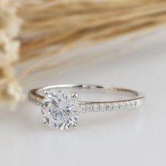 Moissanite   Etsy Rose Gold Engagement Ring, Engagement Ring Settings, Vintage Engagement Rings, Wedding Ring, Halo Engagement, Wedding Sets, Gold Wedding, Pear Shaped Diamond, Diamond Cuts