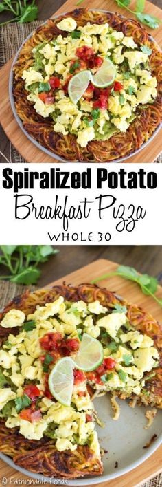 A fun way to eat healthy is with this delicious spiralized potato breakfast pizza! It's simple to make and can be made ahead of time, which makes it great for busy mornings.    {Whole30, Dairy-Free, Gluten-Free, & Paleo (if you use sweet potatoes!)}
