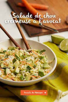 Essayez cette salade crémeuse aux avocats, une de nos recettes coups de coeur! Chou Napa, Avocados From Mexico, Vegetarian Cabbage, Napa Cabbage, Chinese Cabbage, Rice Vinegar, Home Recipes, Coleslaw, Summer Recipes