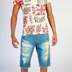 Denim Ripped Shorts UK Flag Graphic Tee