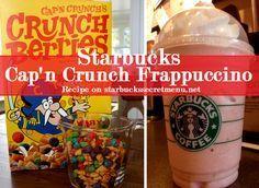 Starbucks Secret Menu Cap'n Crunch Berries Frappuccino! Recipe here: http://starbuckssecretmenu.net/starbucks-secret-menu-captain-crunch-frappuccino/