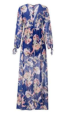 3188e98bbd49 Women s V Neck Floral Chiffon Dress Overlay Romper Jumpsuit Playsuit Purple  Women V Neck Long Sleeve Chiffon Maxi Dress with Shorts Attachedbrbr Size  ...