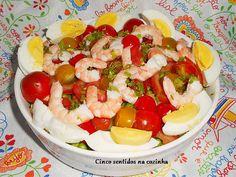 Cinco sentidos na cozinha: Salada de batata com tomate - cereja e camarão