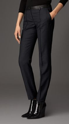 Skinny Fit Leather Trim Wool Trousers | Burberry
