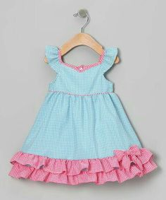seriously i can't wait for my SIL to have her little girl. do dresses get any cuter than this! Take a look at this Blue & Pink Gingham Ruffle Dress - Infant, Toddler & Girls by Gidget Loves Milo on today! Kids Frocks, Frocks For Girls, Little Dresses, Little Girl Dresses, Cute Dresses, Girls Dresses, Toddler Dress, Baby Dress, Ruffle Dress