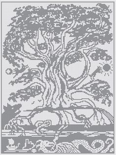 WitchWolfWeb Creations: Yggdrasil Large Chart for Cross stitch, Crochet and Filet Crochet