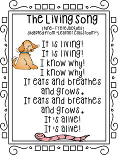 """""""The Living Song"""" (Tune: """"Frere Jacques""""; free; from First Grade Wow)"""