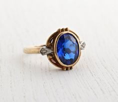 Antique 10k Yellow Gold & Sapphire Blue Stone Ring - Art Deco Size 6 1/2 Vintage Fine Jewelry / Deep Sea Blue on Etsy, $350.00