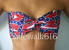 Rebel Flag Print Bandeau Spandex Bandeau Bikini Top by Sidewalk616
