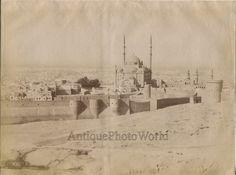 Cairo Ali Muhammad mosque aerial view panorama antique albumen photo Zangaki