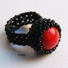 Red black beaded cocktail ring Beadwork statement ring by Szikati