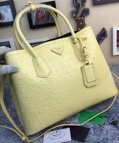 Prada Ostrich Leather Tote Bag BN2756 Yellow 831fa67b96159