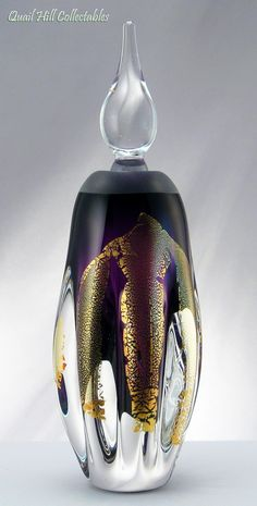 Grant Celestial Art Glass Purple and Gold Leaf Glass Perfume Bottle Signed | eBay
