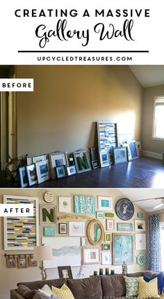 How to Create a Massive Gallery Wall filled with DIY projects and upcycled finds |upcycledtreasures.com