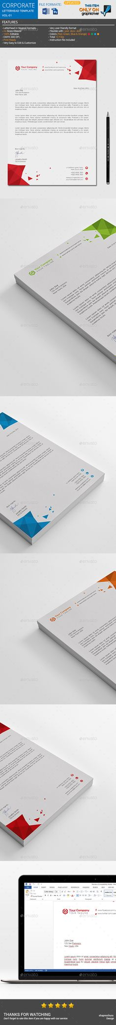 Corporate #Letterhead Template by ThemeDevisers on @creativemarket - corporate letterhead template