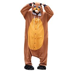 WOTOGOLD Animal Cosplay Costume Beaver Mens Womens Pajamas Brown * Check out the image by visiting the link-affiliate link. #CostumesParty