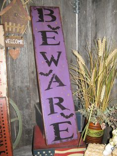 """Primitive Large Holiday Wooden Painted Halloween Subway Sign """" BEWARE """" Crows Mummy Pumpkins Bats Country Housewares Folkart on Etsy, $21.95"""