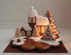 Today we are looking at Moravian and Bohemian gingerbread designs from the Czech Republic. Back home, gingerbread is eaten year round and beautifully decorated cookies are given on all occasions. Gingerbread Village, Christmas Gingerbread House, Gingerbread Cake, 3d Christmas, Christmas Cupcakes, Christmas Desserts, Christmas Baking, Cookies Fondant, Royal Icing Cookies