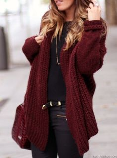 Shop this look for $109:  http://lookastic.com/women/looks/cardigan-and-crew-neck-t-shirt-and-belt-and-shopper-handbag-and-skinny-jeans/922  — Burgundy Cardigan  — Black Crew-neck T-shirt  — Black Leather Belt  — Burgundy Leather Tote Bag  — Black Skinny Jeans