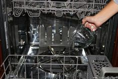 Pour one cup of vinegar at the bottom of your dishwasher to disinfect and ensure it stays operating efficiently — which, you know, is important because its job is to clean! 15 Ways To Clean The Stuff You Have No Idea How To Clean Cleaning Your Dishwasher, Dishwasher Detergent, Toilet Cleaning, Cleaning Hacks, Dishwasher Magnet, Kitchen Cleaning, Clean Mama, Clean 15, Grease Stains