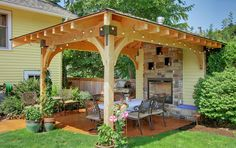 You can add all sorts of features to your pergola, such as an outdoor fireplace