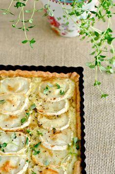 Tarta de cebolla caramelizada y queso de cabra