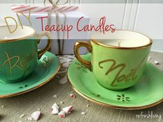 diy vintage teacup soy candle