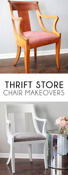 Thrift store chair makeovers are an easy way to make a big impact on a budget.   Thrift store diy | thrifted furniture | thrift store diy makeover | thrift store diy project | thrift store home decor | thrift store home decor diy | thrift store home decor